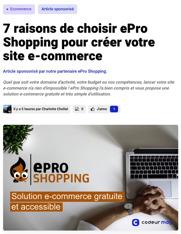Article sponsorisé Codeur