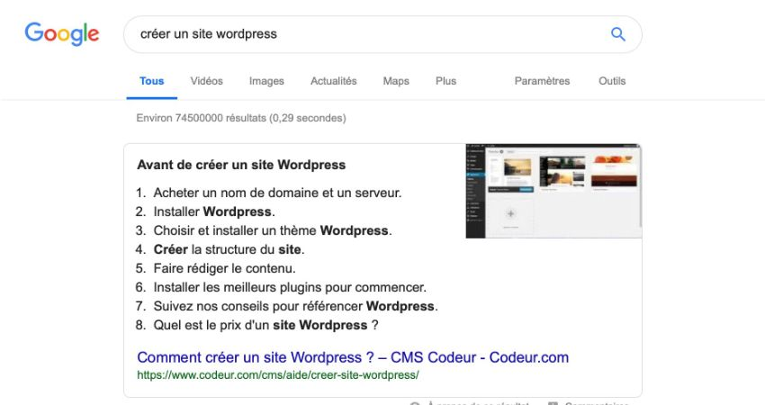 un featured snippet