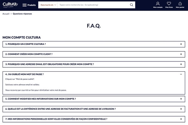 Site e-commerce FAQ