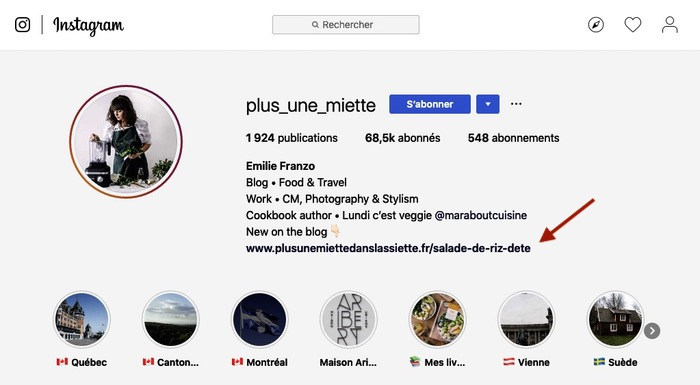 Lien biographie instagram
