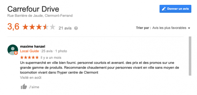 carrefour drive google my business set local