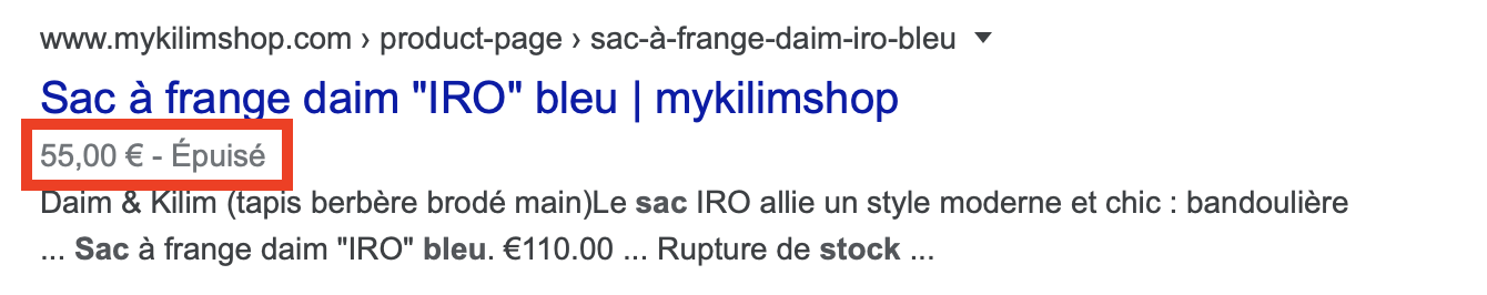 featured rich snippet seo google article épuisé ou en stock